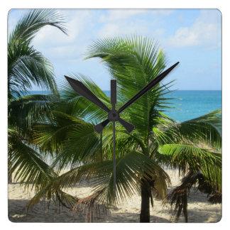 Tropische Palmen Vierkante Klok