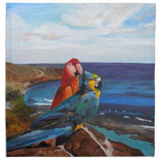 Tropische Vogels die de Baai overzien Katoenen Servet