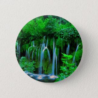 Tropische Waterval in het Regenwoud Ronde Button 5,7 Cm