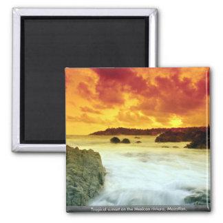 Tropische zonsondergang op Mexicaanse riviera, Magneet