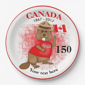 Trots Canadese Bever 150 Jubileum Papieren Bordjes