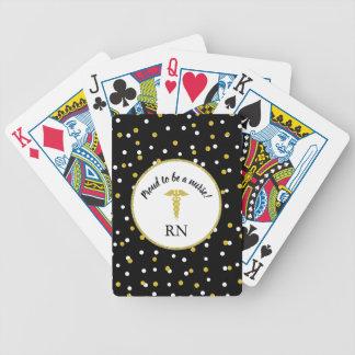 Trots om een verpleegster, gouden puntconfettien, bicycle speelkaarten