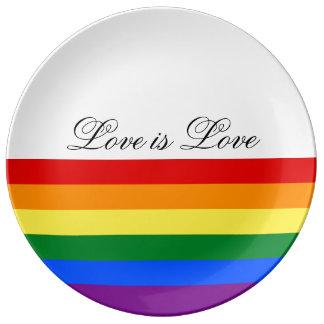 Trots van de Vlag LGBT van de Regenboog van de Porseleinen Bord