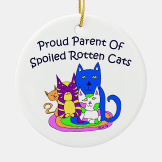 Trotse Ouder van Rotte Katten Spolied Rond Keramisch Ornament