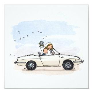 Trouwkaart bruidspaar in vintage Fiat 850 spider Kaart