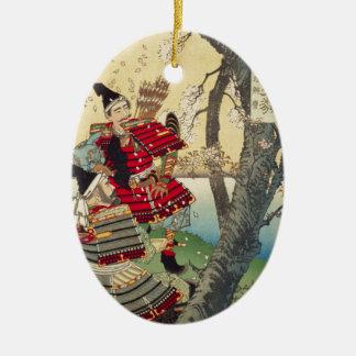 Tsukioka Yoshitoshi - Yoshitsune en Benkei Keramisch Ovaal Ornament
