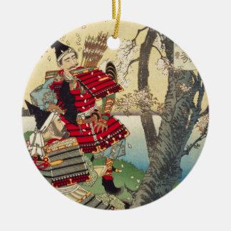 Tsukioka Yoshitoshi - Yoshitsune en Benkei Rond Keramisch Ornament