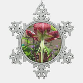 Tuin van de Bloem van de lelie de Kastanjebruine Tin Sneeuwvlok Ornament