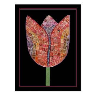 Tulp van Postzegels - briefkaart Wens Kaart