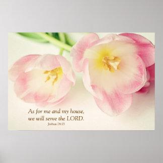 Tulpen van het Vers van de Bijbel van het 24:15 va Poster