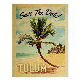 Tulum Mexico bewaart de Datum de Vintage Palm van Briefkaart