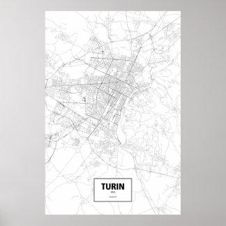 Turijn, zwart Italië (op wit) Poster