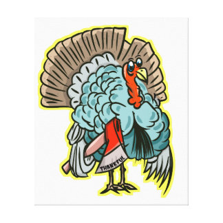 Turkije met een bijl grappige Thanksgiving Canvas Print