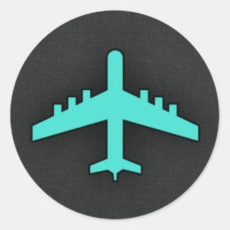 Turkoois Blauwgroen Vliegtuig Ronde Sticker