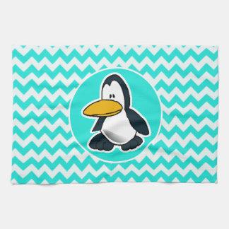 Turkoois, de Chevron van de Kleur Aqua; Pinguïn Handdoeken