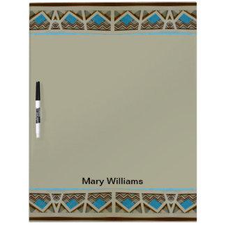 turkoois grijs zuidwestelijk patroon dry erase whiteboards