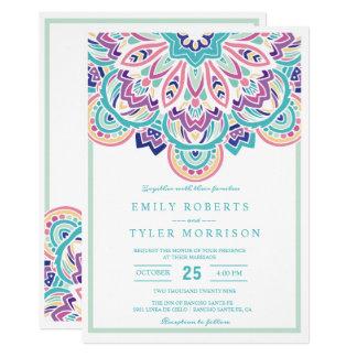 Turkoois & Paars Modern Elegant BloemenHuwelijk Kaart