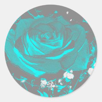 Turkoois van Aqua nam de Bloemen van de Bloem van Ronde Sticker