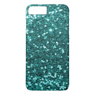 Turkooise Aqua Blauwe Faux schittert de Druk van iPhone 8/7 Plus Hoesje