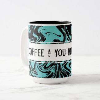 Turkooise Blauwe Samenvatting Gepersonaliseerde Tweekleurige Koffiemok