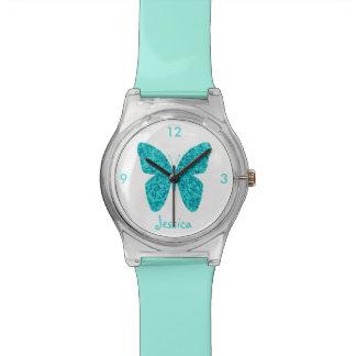 Turkooise Blauwe Vlinder op Witte Naam Girly Polshorloge