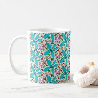 Turkooise bloemmok, koffie, thee koffiemok