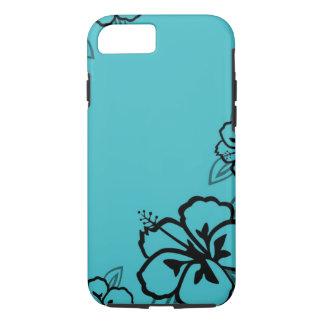 Turkooise en Zwarte Hibiscus iPhone 7 Hoesje