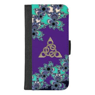 Turkooise Fractal van de Indigo Keltische Figuur 8 iPhone 8/7 Plus Portemonnee Hoesje