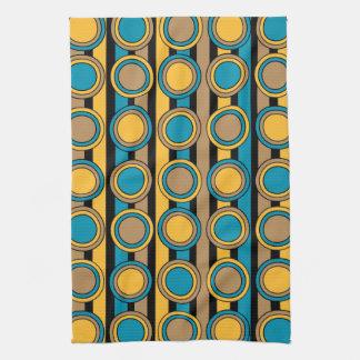Turkooise, gele en bruine retro cirkelstrepen keuken handdoeken