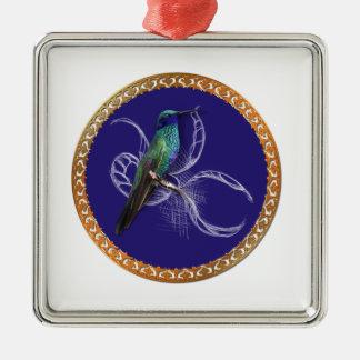 Turkooise groen en blauw met paarse kolibrie zilverkleurig vierkant ornament
