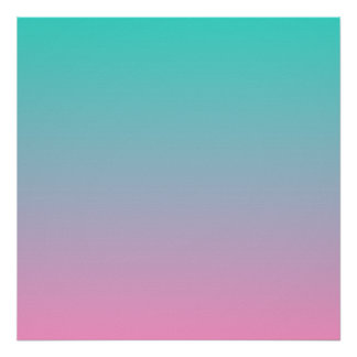Turkooise Roze Ombre Poster