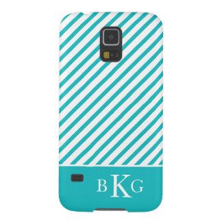 Turkooise Strepen & Initialen Galaxy S5 Hoesje