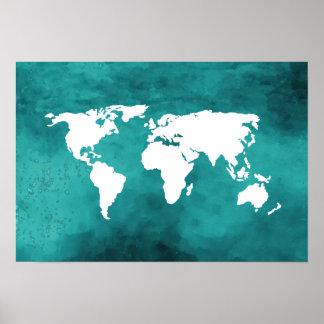 turkooise wereldkaart poster