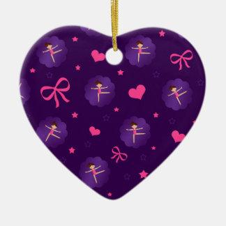Turner van de de paarse bogen de paarse kammossel keramisch hart ornament