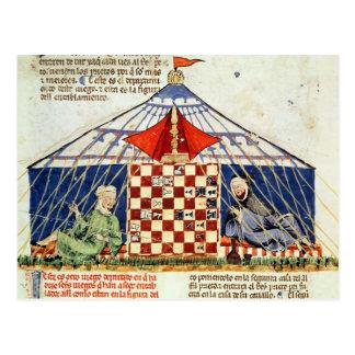 Twee Arabieren die schaak in een tent spelen Briefkaart