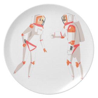 Twee Astronauten die in Ruimtepakken op Dark Melamine+bord