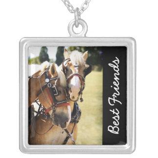 Twee Belgische Paarden van het Ontwerp Ketting Vierkant Hangertje