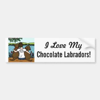 Twee Chocolade Labradors en Mamma Bumpersticker