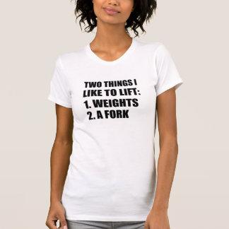 Twee Dingen heffen de Vork van Gewichten op T Shirt