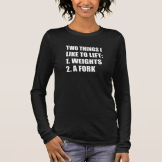 Twee Dingen heffen de Vork van Gewichten op T Shirts