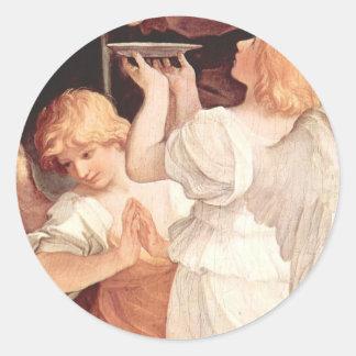 Twee Engelen, het Christelijke Barokke Fijne Art. Ronde Sticker