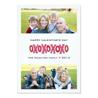 Twee-Foto XOXO de Kaart van de Valentijnsdag van 12,7x17,8 Uitnodiging Kaart