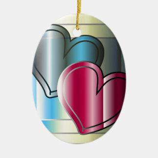 twee harten samen en gekleurd helder keramisch ovaal ornament