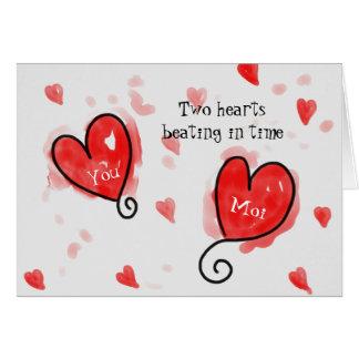 Twee Harten slaan als Kaart van Één Valentijnsdag