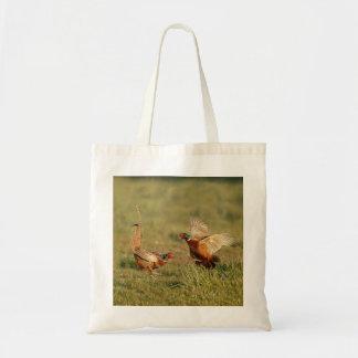 Twee het mannelijke ring-hals fazanten vechten budget draagtas