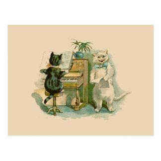 Twee Katten bij de Piano Briefkaart