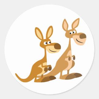 Twee Leuke Kangoeroes van de Cartoon om Sticker