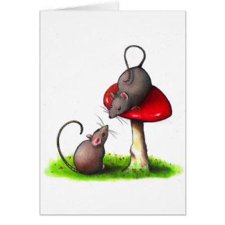 Twee Leuke Kleine Muizen en een Giftige paddestoel Wenskaart