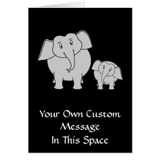 Twee Leuke Olifanten. Cartoon op Zwarte Briefkaarten 0
