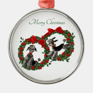 Twee Leuke Poedels van Kerstmis in Kronen Zilverkleurig Rond Ornament